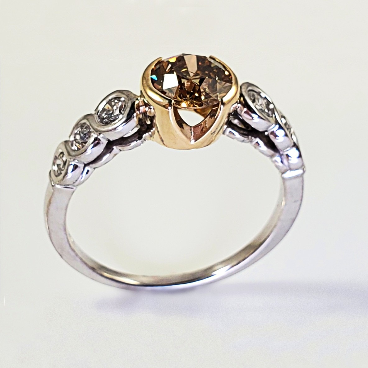 14K Two Tone Gold Remount with White and Champagne Diamond